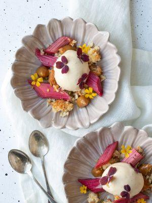 dessert med rabarber och kokostoppar-2